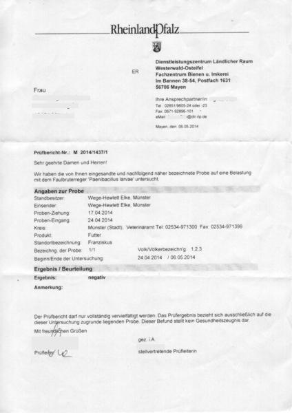 Prüfbericht der Untersuchung auf AFB
